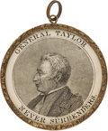 Political:Ribbons & Badges, Zachary Taylor: Rare Large Brass Campaign Shell with Inset Portrait....