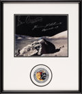 Explorers:Space Exploration, Apollo 17 Lunar Surface Photo Signed by Mission Moonwalkers Cernan and Schmitt, in Framed Display. ...