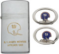 Football Collectibles:Others, 1969 New York Giants Cuff Links and Lighter Presented to Trainer John Dziegiel.. ...
