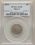 Shield Nickels, 1873 5C Open 3 AU50 PCGS. PCGS Population: (8/271). NGC Census: (1/163). CDN: $110 Whsle. Bid for problem-free NGC/PCGS AU5...