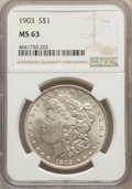 Morgan Dollars: , 1903 $1 MS63 NGC. NGC Census: (3112/8194). PCGS Population:(3646/10261). CDN: $85 Whsle. Bid for problem-free NGC/PCGS MS6...