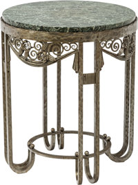 Paul Kiss Art Deco Wrought Iron and Marble Side Table Circa 1930. Stamped P. KISS, PARIS. Ht. 24 x Di. 20-1/4 in.&lt...