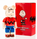 Fine Art - Sculpture, American:Contemporary (1950 to present), BE@RBRICK X Peanuts. Charlie Brown 400%, 2014. Painted castvinyl. 10-3/4 x 5-1/4 x 3-1/2 inches (27.3 x 13.3 x 8.9 cm)...