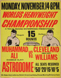 Autographs:Bats, 1966 Muhammad Ali vs. Cleveland Williams On-Site Boxing Poster.. ...