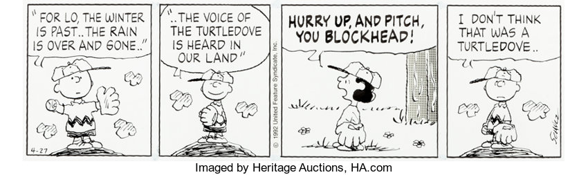 Original Comic Art:Comic Strip Art, Charles Schulz Peanuts Daily Comic Strip Charlie Brown and Lucy Original Art dated 4-27-92 (United Feature Syndica...