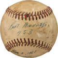 Baseball Collectibles:Balls, 1961 Bob Turley New York Yankees Victory Game Used Baseball.. ...