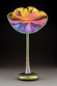 Tiffany Studios-Style Gold Favrile Glass Jack-in-the-Pulpit Vase 20th century Ht. 19-1/8 in. PROPERTY FROM A