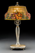 Art Glass:Other , Pairpoint Reverse Painted Glass Puffy Boudoir Lamp. Circa1910. Paint stamped The Pairpoint Corp, PATENTED JULY ... (Total: 2Items)