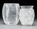 Art Glass:Lalique, Two Lalique Clear and Frosted Glass Vases. Post-1945. EngravedLalique, France. Ht. 7-1/2 in. (taller). ... (Total: 2Items)