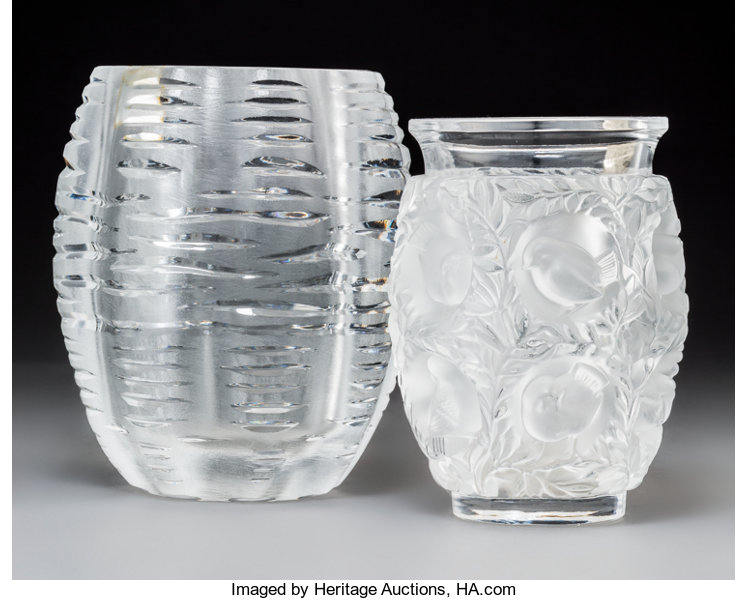 Two Lalique Clear And Frosted Glass Vases Post 1945 Lot 79350