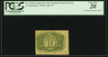 Fractional Currency:Second Issue, Fr. 1246 10¢ Second Issue Inverted Back Surcharge PCGS Very Fine 20.. ...