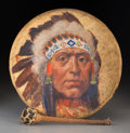 Fine Art - Painting, American, Henry François Farny (American, 1847-1916). Portrait of ChiefJohn Williams. Oil on leather war drum. 16 inches (40.6 x ...(Total: 2 Items)