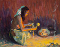 Fine Art - Painting, American, Eanger Irving Couse (American, 1866-1936). Indian Brave KneelingBefore the Firelight, 1921. Oil on board. 7-1/2 x 9-3/8...