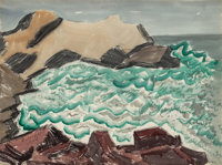 Milton Avery (American, 1885-1965) Churning Bay, 1945 Watercolor on paper 22 x 29-3/4 inches (55