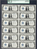 Contemporary Inscription Fr. 1600 $1 1928 Silver Certificates. Uncut Sheet of Twelve PCGS Extremely Fine 45PPQ