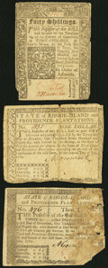 Colonial Notes:Mixed Colonies, Trio of Colonial Notes, Connecticut and Rhode Island, Very Fine,Three Examples.. ... (Total: 3 notes)