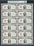 Small Size:Legal Tender Notes, Fr. 1506 $2 1928E Legal Tender Notes. Uncut Sheet of Twelve. PMG Choice Uncirculated 63.. ...