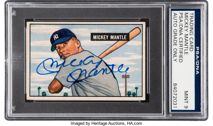 1951 Bowman Mickey Mantle Rookie 253 Signed Psadna Mint