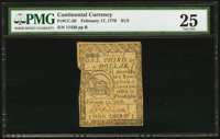 Continental Currency February 17, 1776 $1/3 PMG Very Fine 25