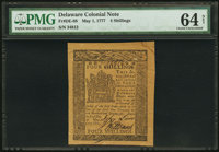 Delaware May 1, 1777 4s PMG Choice Uncirculated 64 Net