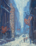 Fine Art - Painting, American, Laurence A. Campbell (American, b. 1939). Sketch for Wall StreetWinter, 1987. Oil on Masonite. 10-1/4 x 8-1/8 inches (2...