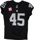 Football Collectibles:Uniforms, 2015 Marcel Reece Game Worn, Unwashed Oakland Raiders Jersey - Used 10/11 vs. Broncos....
