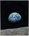 "Explorers:Space Exploration, Alan Bean Original 1983 Painting ""Mother Earth,"" Acrylic on Masonite, Museum Framed...."