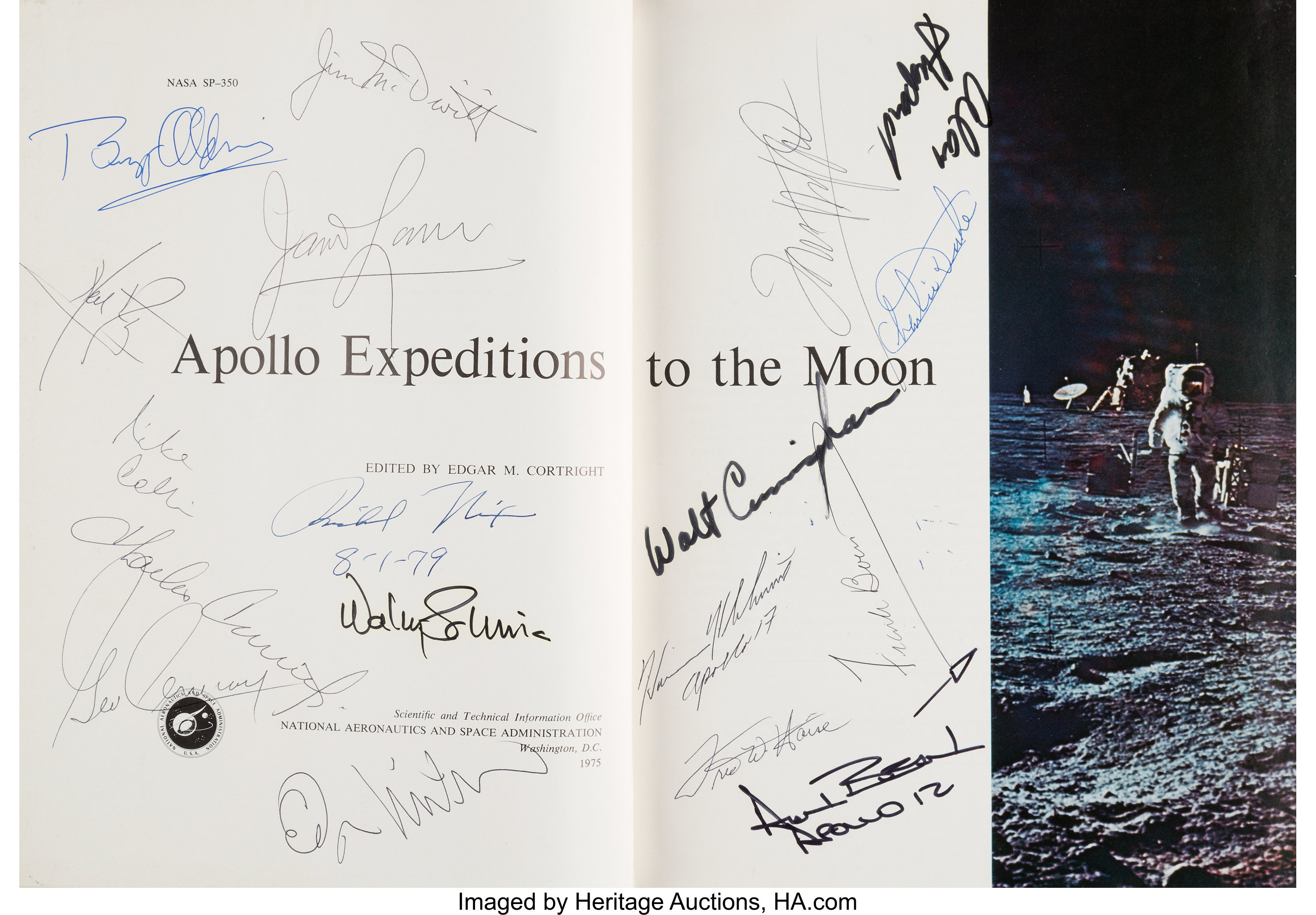 Apollo Expeditions to the Moon Book Signed by Richard Nixon