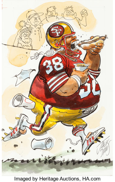 Jack Davis San Francisco 49ers Football Illustration Undated