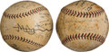 Autographs:Baseballs, 1931 Tour of Japan American & Japanese Team Signed Baseballs Lot of 2 from the Beans Reardon Collection....