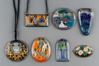 Seven Marcel Goupy Enameled Glass Pendants Circa 1925. Engraved M. Goupy. Ht. 2-7/8 in. (largest)