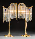 Lighting:Lamps, Pair of Art Nouveau Gilt Bronze and Glass Lamps After Hector Guimard. 20th century. Stamped (monogram). Ht. 30-1/2 in.. PROP... (Total: 2 Items)