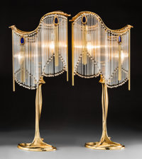 Pair of Art Nouveau Gilt Bronze and Glass Lamps After Hector Guimard 20th century. Stamped (monogram) Ht. 30-1/