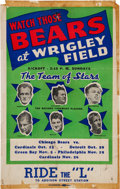 Football Collectibles:Others, 1939 Chicago Bears Schedule Broadside....