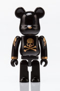 Fine Art - Sculpture, American:Contemporary (1950 to present), BE@RBRICK X mastermind JAPAN. Black and Gold 100%, 2013.Painted cast resin. 2-3/4 x 1-1/2 x 0-1/2 inches (7.0 x 3.8 x 1...