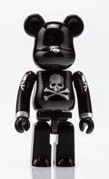 Fine Art - Sculpture, American:Contemporary (1950 to present), BE@RBRICK X mastermind Japan. Black and silver 100%, 2013.Painted cast resin. 2-3/4 x 1-1/4 x 0-1/2 inches (7 x 3.2 x 1...