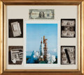 """Explorers:Space Exploration, Mercury-Atlas 8 (Sigma 7) Flown """"Hidden"""" One Dollar Silver Certificate Signed by Wally Schirra, in Framed Display...."""
