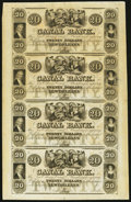 Obsoletes By State:Louisiana, New Orleans, LA- Canal Bank $20-$20-$20-$20 18__ Uncut Sheet. ...