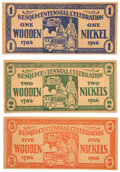 "Columbia Sesquicentennial Wooden Nickels. A total of ten ""wooden nickels,"" rectangular dollar-shaped format 4..."