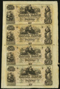 Obsoletes By State:Louisiana, New Orleans, LA- Canal Bank $50-$50-$50-$50 18__ Uncut Sheet. ...