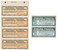 Panama-Pacific Exposition Medal, Badge, Tickets, and Ephemera. This diverse lot includes two Pan-Pac gold dollar envelop...