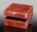 Lapidary Art:Boxes, Rhodochrosite Box. Stone Source: Argentina. 2.25 x 2.25 x1.25 inches (5.71 x 5.71 x 3.17 cm). ...