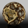 Lapidary Art:Eggs and Spheres, Septarian Sphere. Stone source: Utah, USA. 4.00 inches(10.16 cm) in diameter. ...
