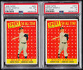 Baseball Cards:Lots, 1958 Topps Mickey Mantle All-Star PSA Graded Pair (2)....