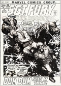 Original Comic Art:Covers, Gil Kane and Ralph Reese Sgt. Fury and His Howling Commandos #96 Rejected Cover With Stat Pin-Up Page Group of 2 O... (Total: 2 Original Art)
