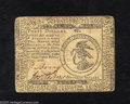 Colonial Notes:Continental Congress Issues, Continental Currency February 17, 1776 $3 Extremely Fine. A lateraland vertical fold are found on this note that also exhib...