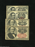 Fractional Currency:Fifth Issue, Long and Short Key Notes. Fr. 1265 10c Fifth Issue Fine Fr. 126610c Fifth Issue About New, pinhole Fr. 1308 25c Fifth Is... (4notes)