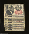 Fractional Currency:Fifth Issue, Fr. 1309 25c Fifth Issue Ten Examples. The notes in this groupingrange in grade from Very Good to Very Fine. ... (10 notes)