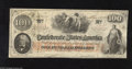 Confederate Notes:1862 Issues, T41 $100 1862. Four interest paid stamps and six pencilled digitsare found on the back of this Scroll 2 variety printed on ...