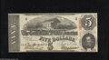 Confederate Notes:1863 Issues, T60 $5 1863. This note was issued in February 1864, the last monthof issue for this design. Crisp Uncirculated....